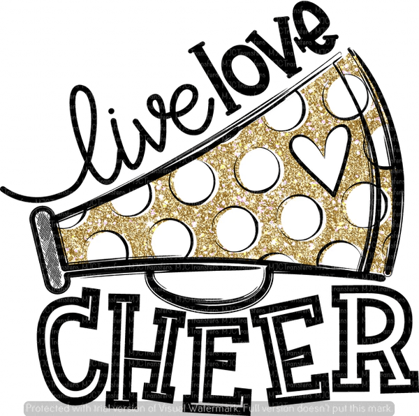Download LIVE LOVE CHEER (BLACK/GOLD) (SUBLIMATION) - MJCTransfers