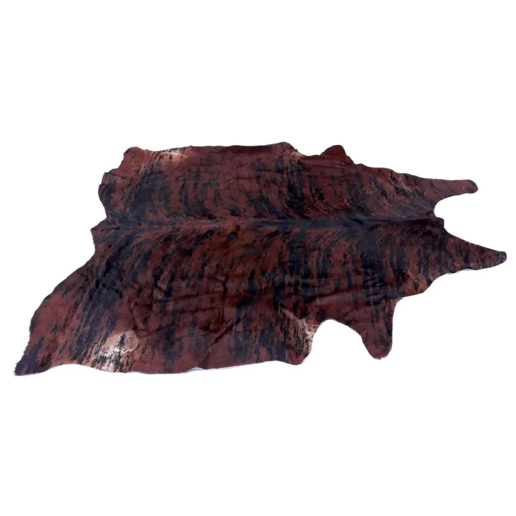 Cowhide Rug By Narbonne Leather Printed Exotic Dark Brown Hide Approx 210 Cm X 176 Cm Luxury Designer Hide
