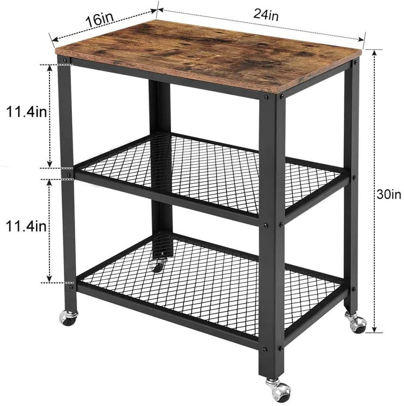 industrial kitchen cart 3 tier rolling