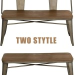 Metal Bench Industrial Mid Century 2 Person Chair With Wood Seat Dini Homhum