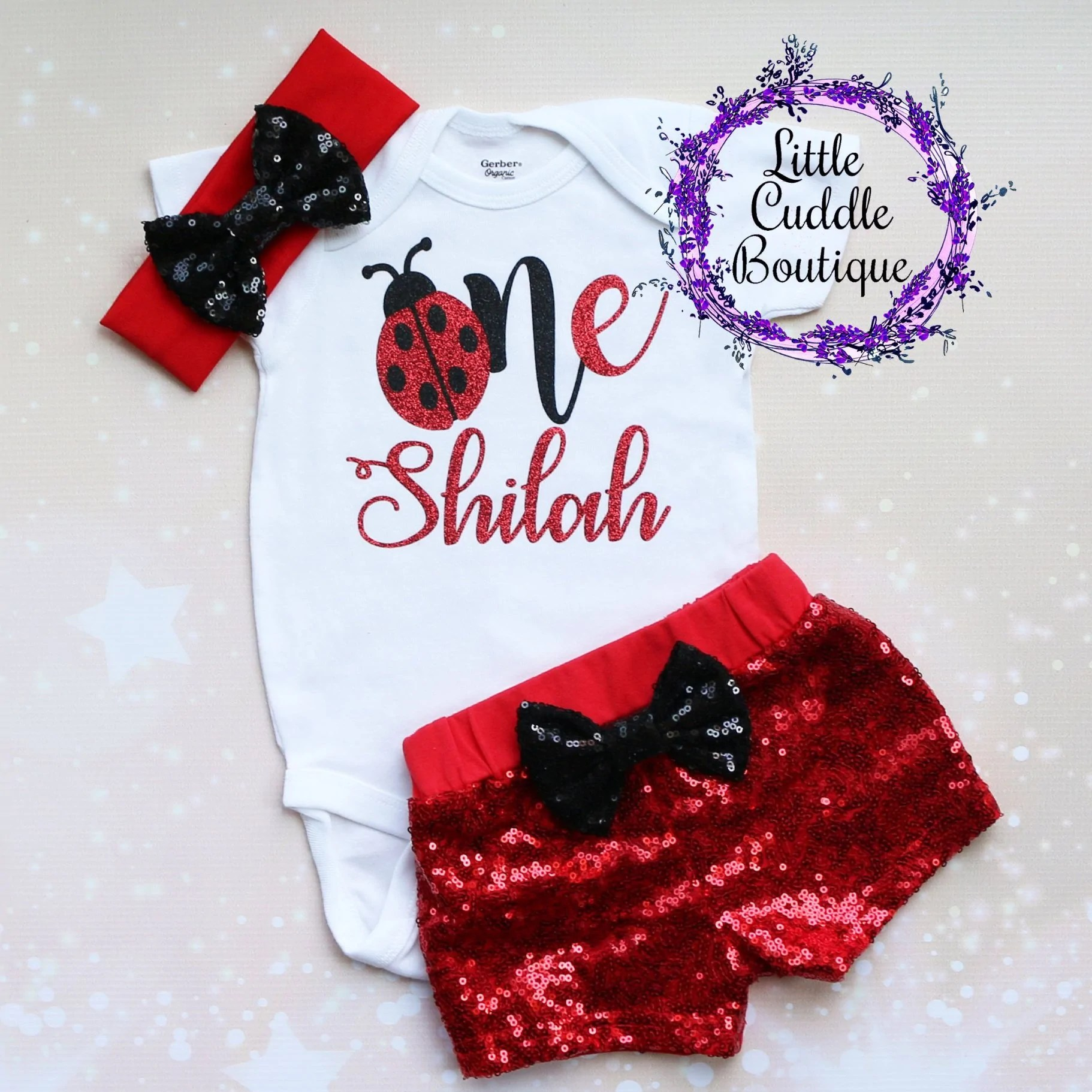 Personalized Ladybug First Birthday Shorts Outfit Little Cuddle Boutique