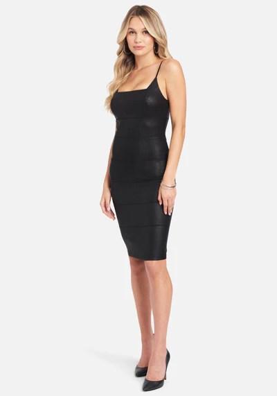 Faux Leather Midi Dress