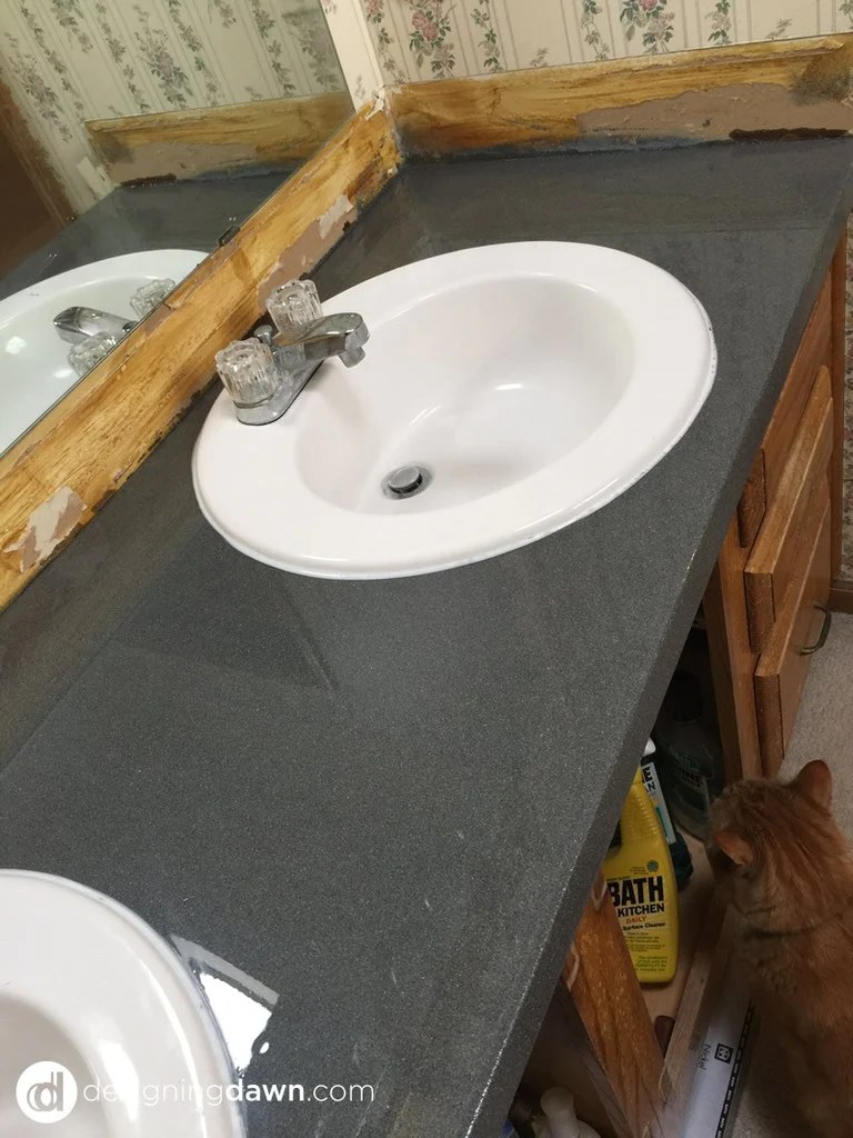spray painted bathroom counter ad