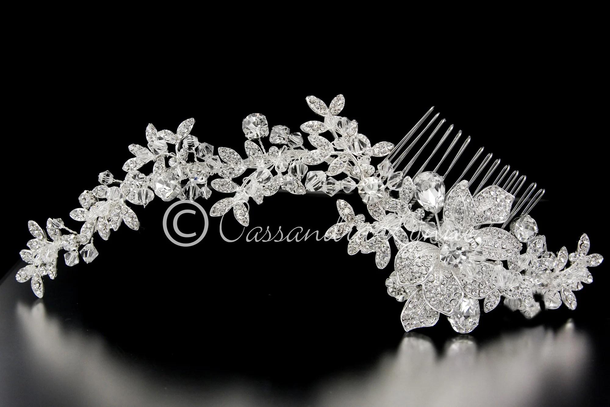 Crystal Bridal Hair Comb In A Rhinestone Vine Design