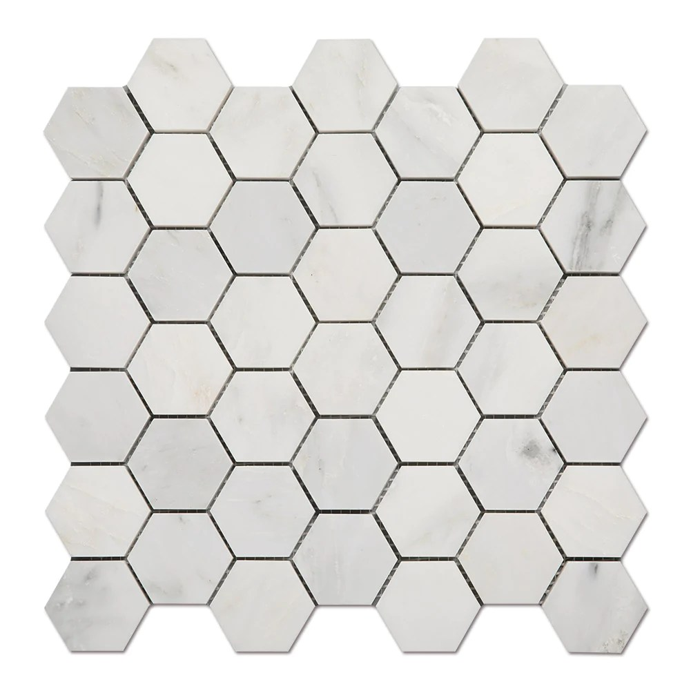 asian statuary oriental white marble 2 inch hexagon mosaic tile pack of 5