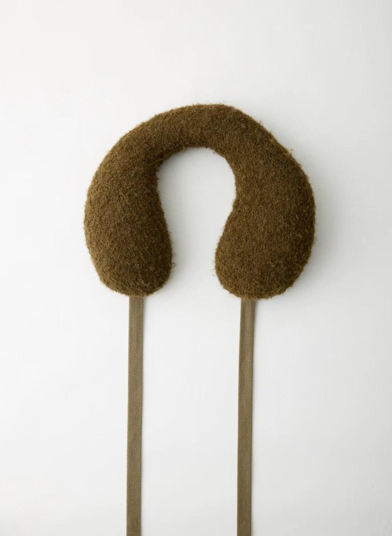 boucle alpaca sweater travel pillow