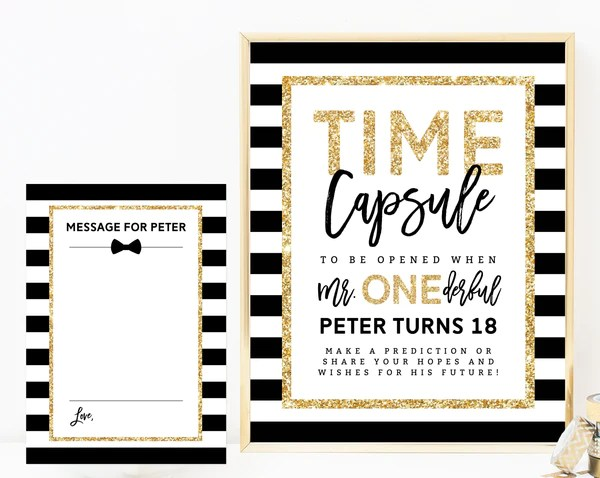 Mr Onederful Time Capsule Sign Template Printable Time Capsule Edit Paperandthings