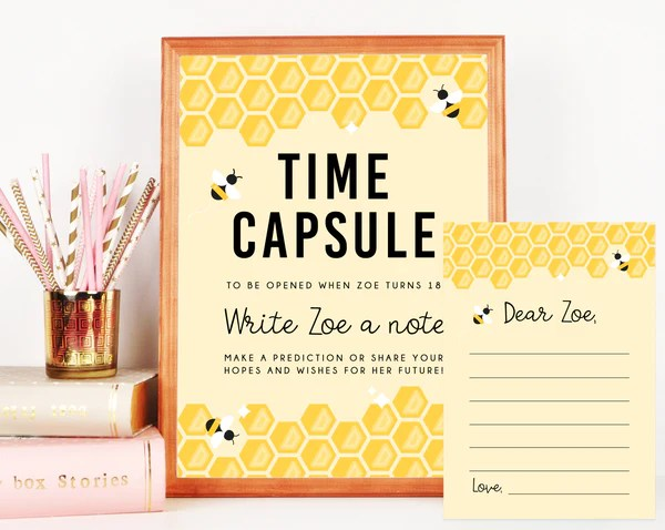 Bee Day Time Capsule Sign Template Printable Bee Day Time Capsule Ed Paperandthings