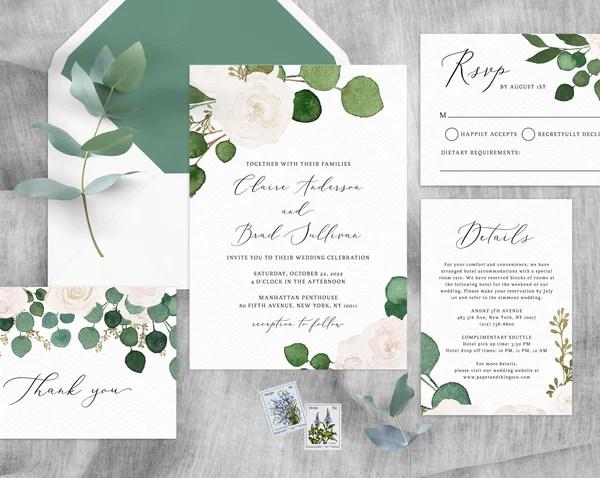 Eucalyptus White Floral Wedding Invitation Template Printable Wedding Invitation Suite Greenery Wedding Invite Set Templett W42