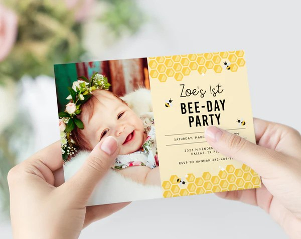 bee day invite template bumble bee birthday invitation template printable bee honeycomb birthday invitation instant download templett