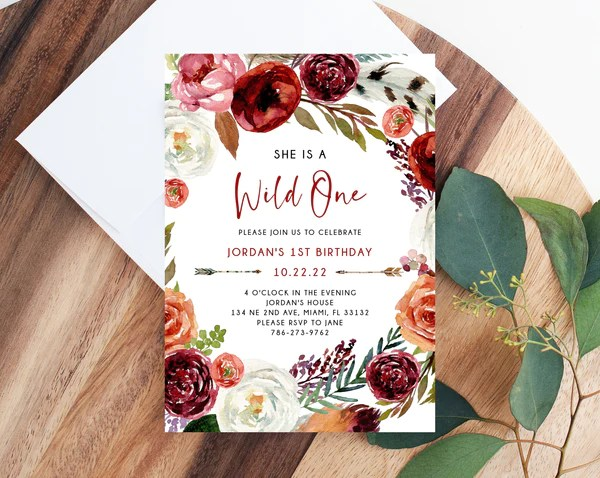 wild one invitation template printable wild one 1st birthday invitation boho feathers first birthday party instant dowload templett b43