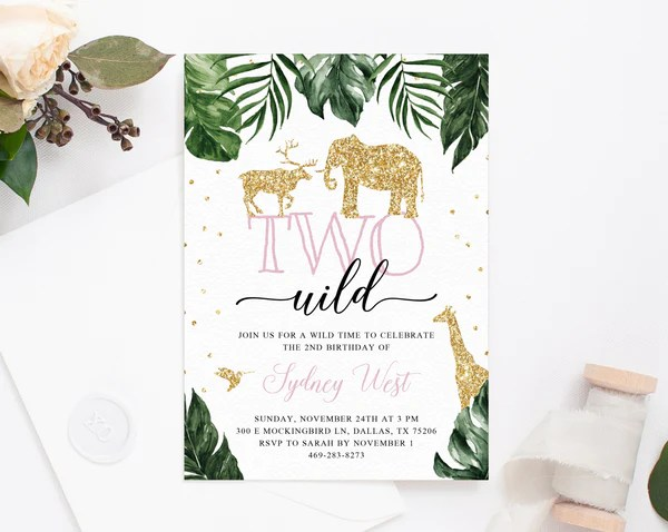 two wild invitation template printable wild 2nd birthday invitation animals themed birthday party instant download templett
