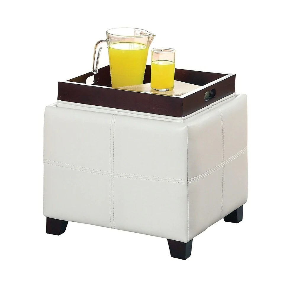 whi storage ottoman with reversible tray lid white