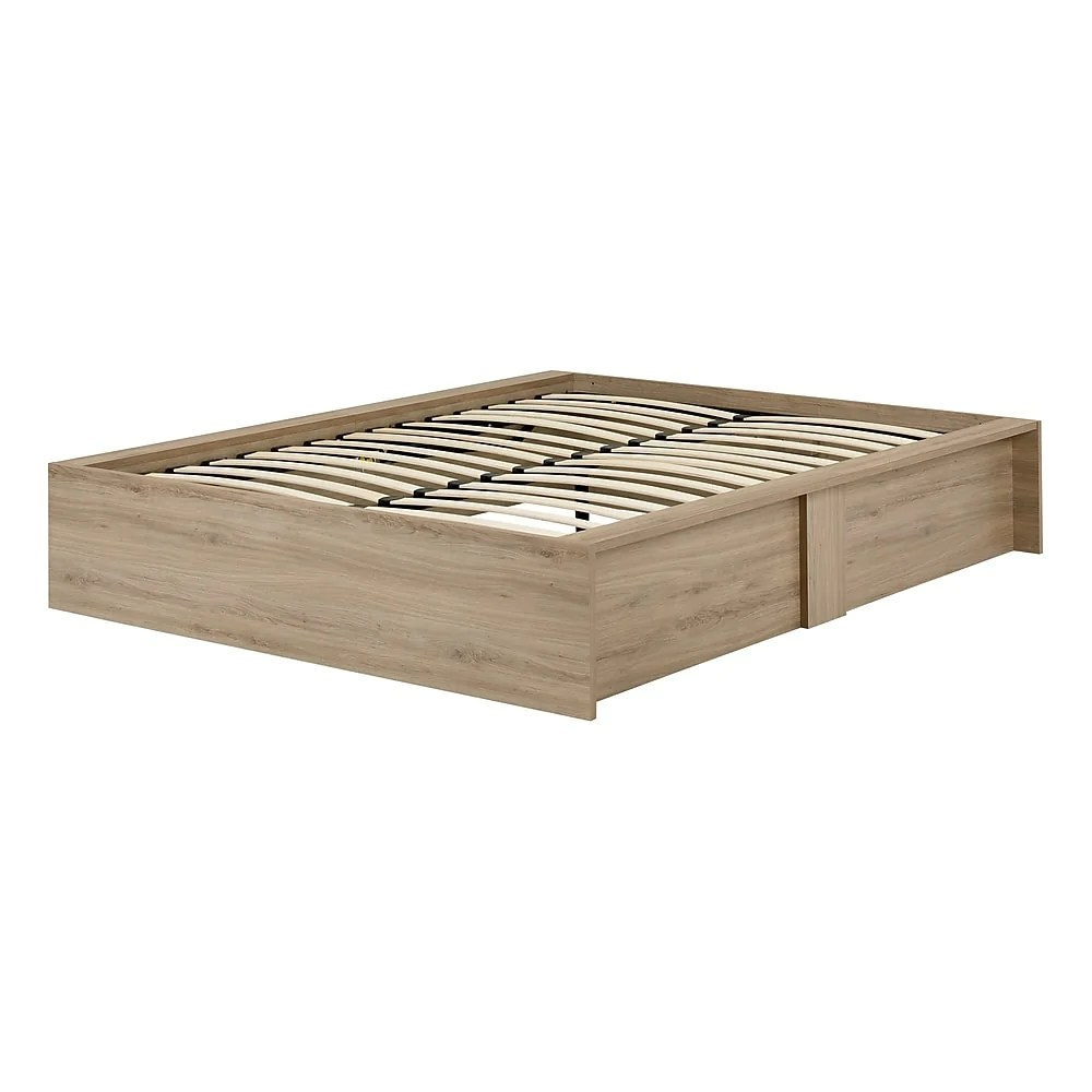 south shore step one ottoman queen storage bed 60 rustic oak 10701