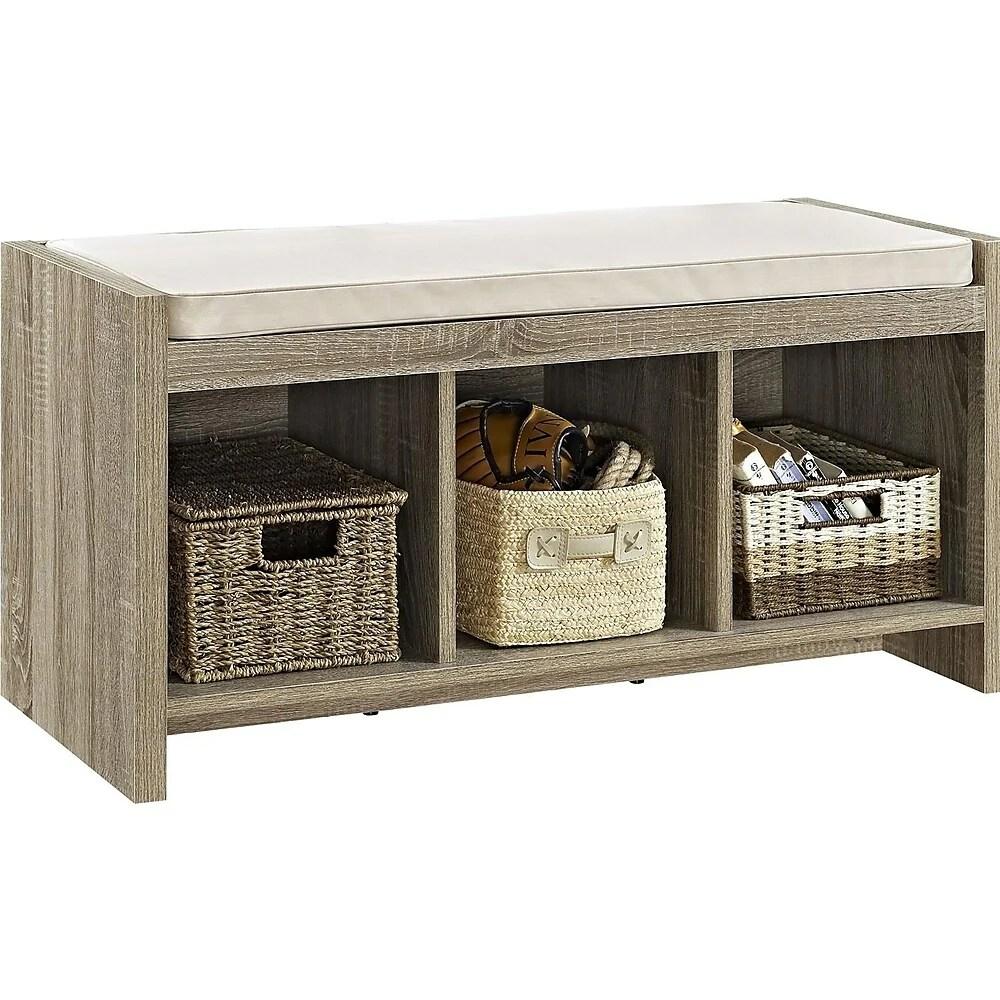 dorel entry storage bench with cushion sonoma oak