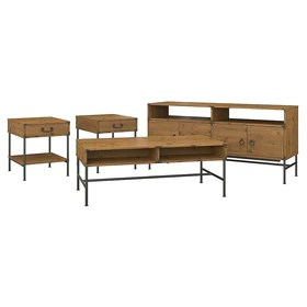 kathy ireland home by bush furniture ironworks tv stand with coffee table and 2 end tables vintage golden pine iw020vg