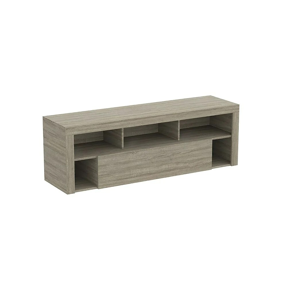 safdie co tv stand with 1 drawer 5 shelves dark taupe