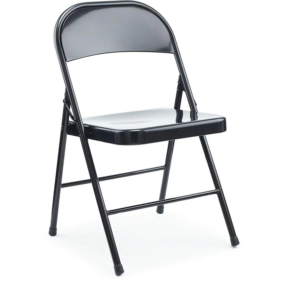 staples chaise pliante en metal noir paq 4