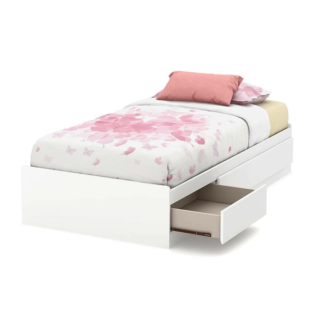 lit matelot simple 39 3 tiroirs blanc callesto de meubles south shore 77 l x 41 d x 14 h