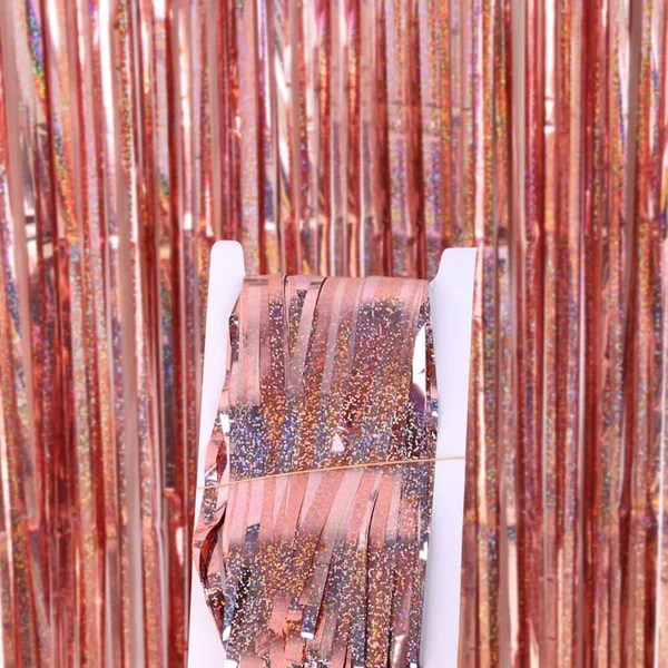 1m x 2m laser glitter rose gold foil fringe curtain