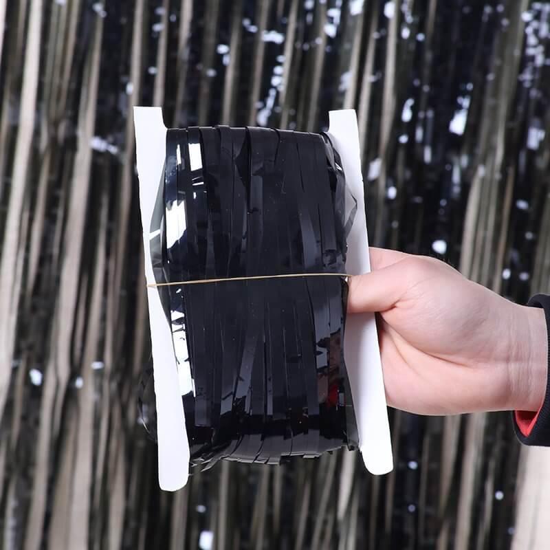 1m x 2m metallic black tinsel foil fringe rain curtain