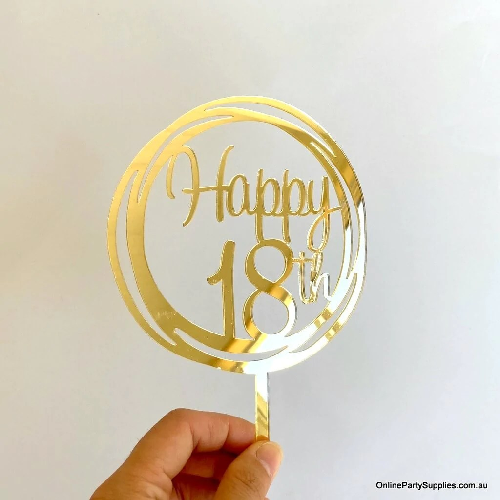 Gold Mirror Geometric Circle Happy 18th Cake Topper Online Party Supplies