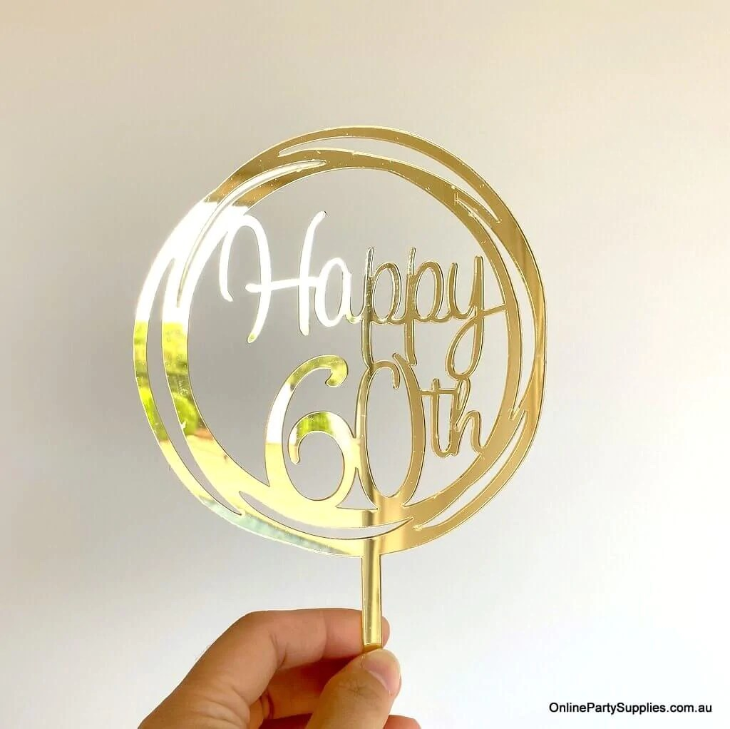 Gold Mirror Happy 60th Birthday Cake Topper Online Party Supplies