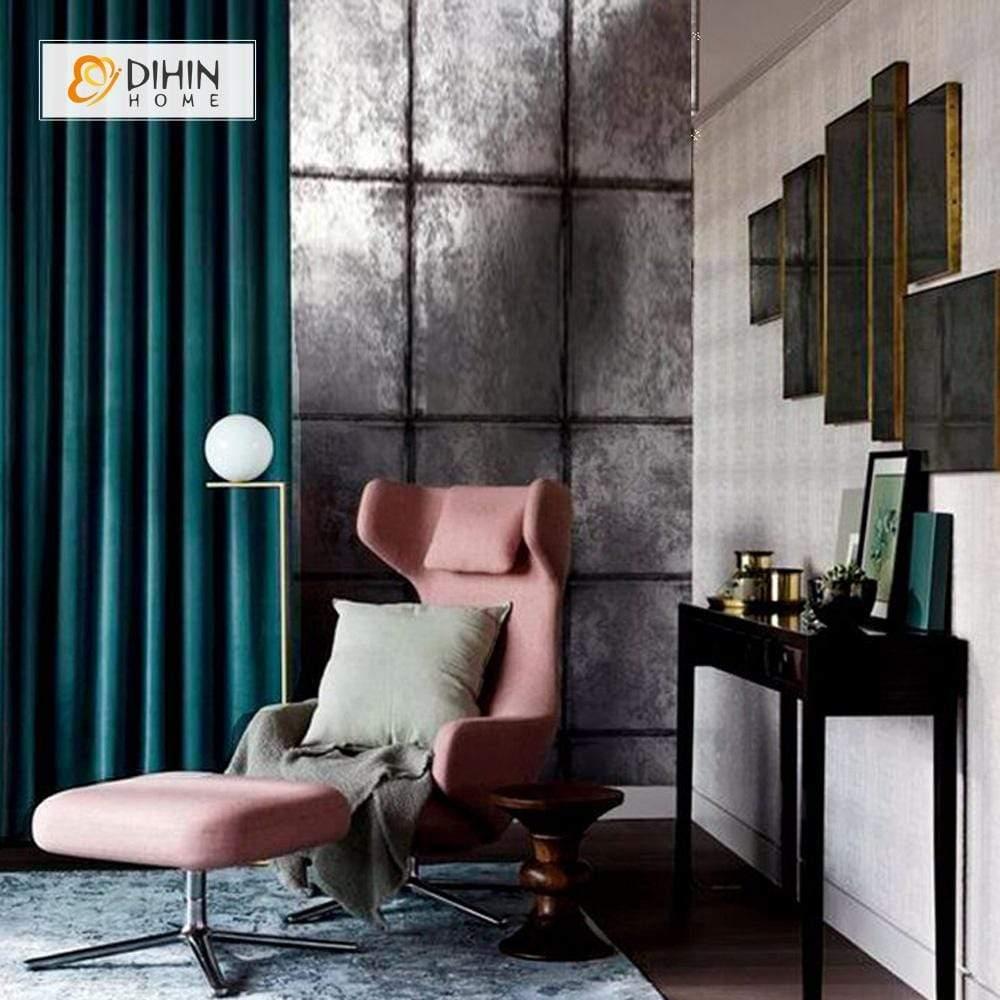dihin home solid dark green velvet blackout curtains grommet window curtain for living room 52x84 inch 1 panel