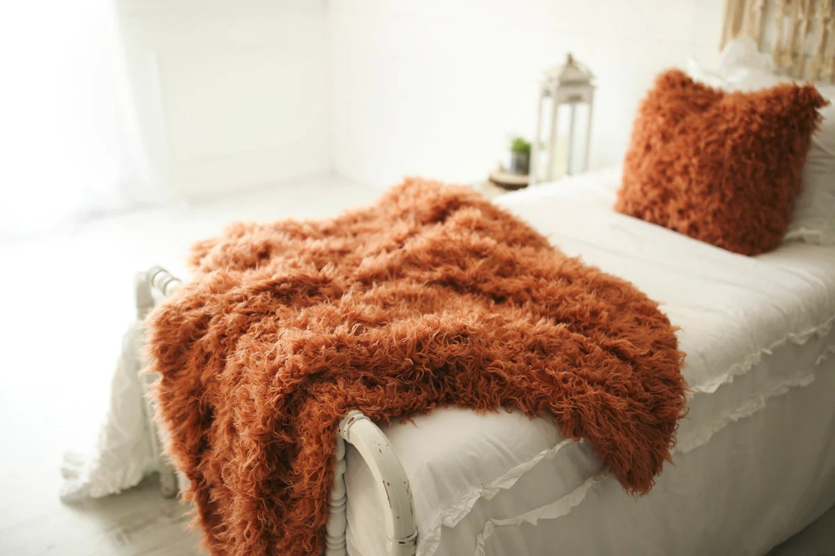 2 piece set luxury orange faux fur pillow throw blanket amber