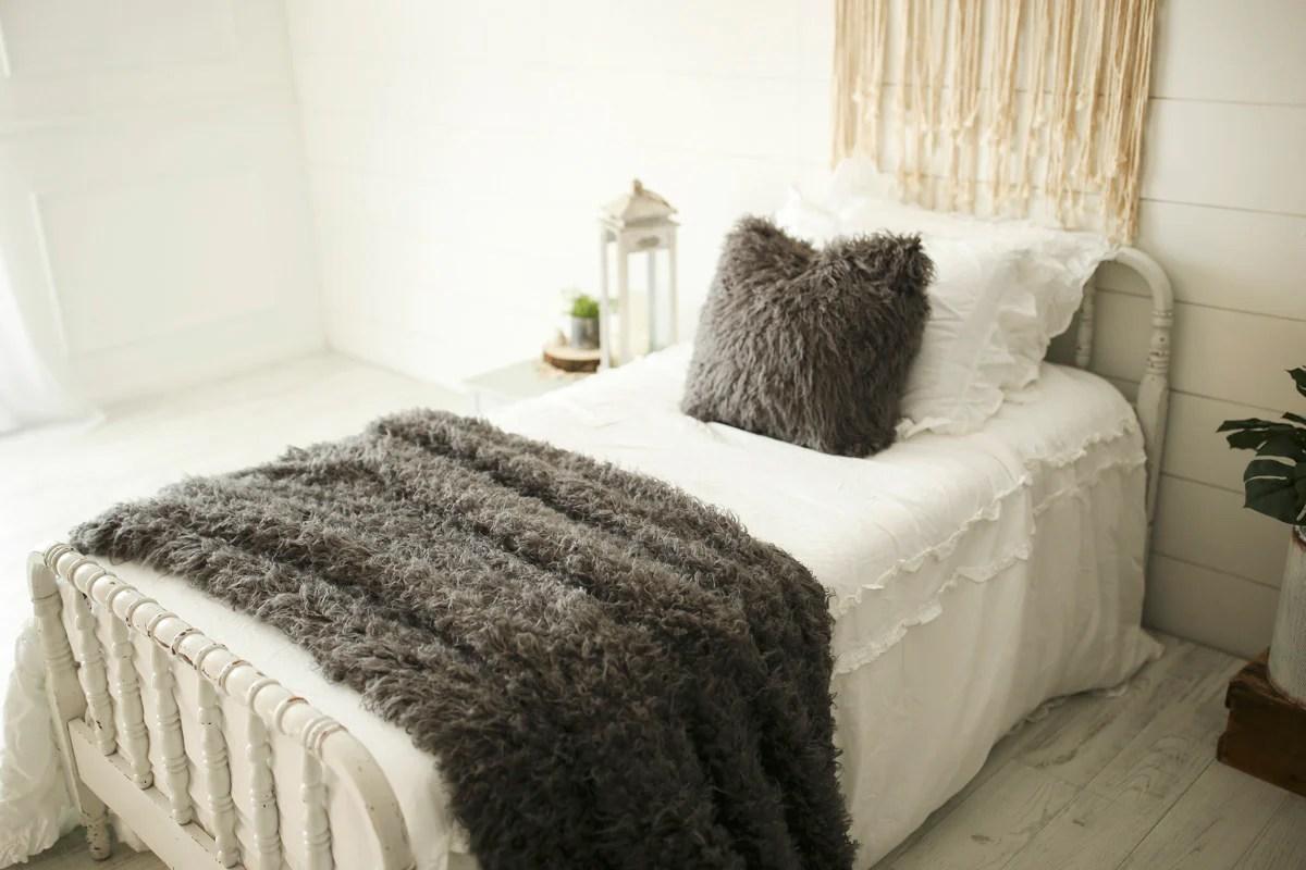 dark gray faux fur pillow throw blanket 2 piece set soot