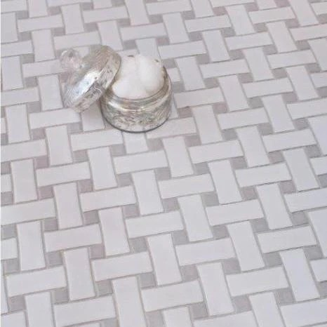 basketweave white marble spain grey dot polished 12x12 sheet