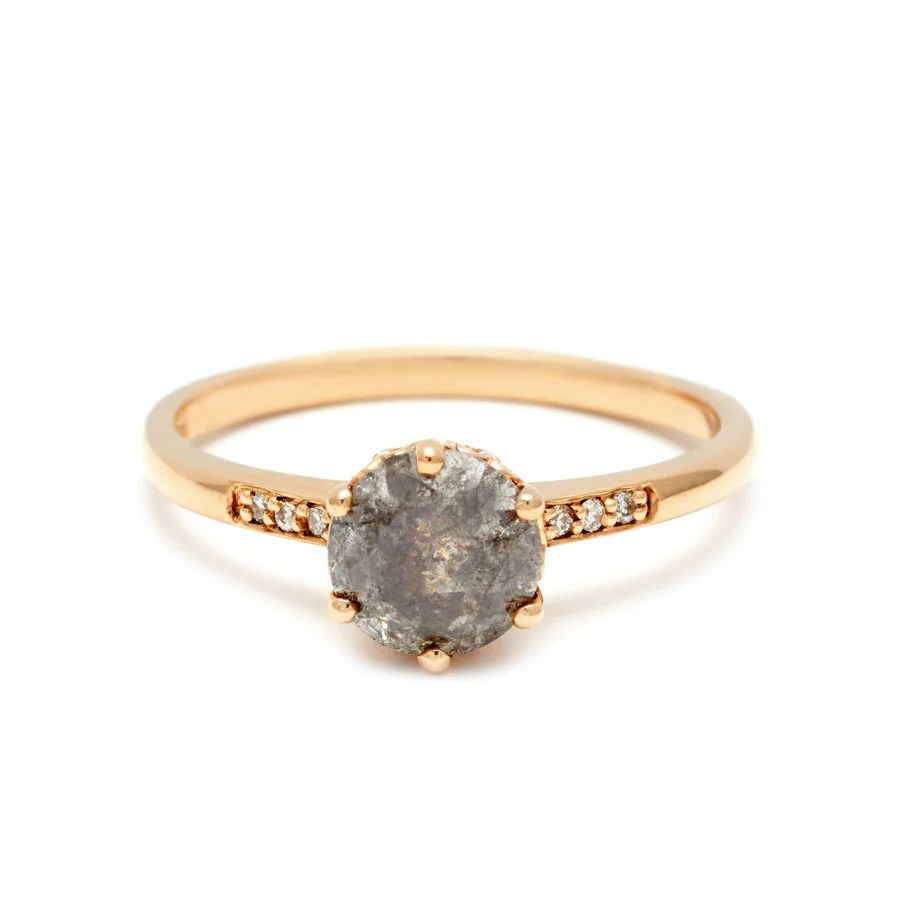 Hazeline Solitaire Ring Yellow Gold Amp Grey Diamond