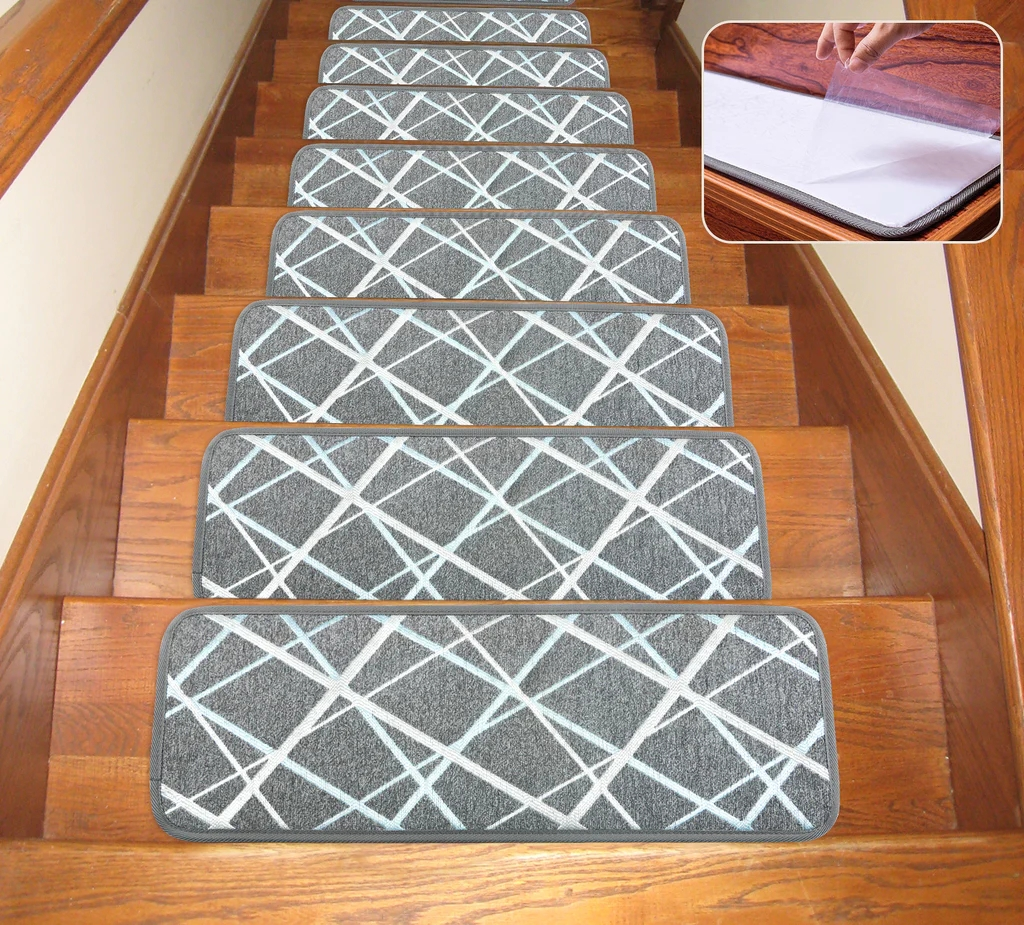 Seloom Non Slip Washable Stair Treads Carpet With Skid Resistant Rubbe | Gray Carpet Stair Treads | Black | Set | Wood | Grey Patterned | Fitting Loop Pile Carpet