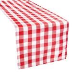 Gingham Checkered Polyester Table Runner Red White Cv Linens