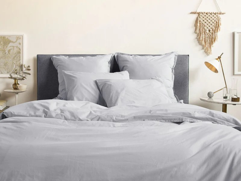parure de lit gris perle satin de coton