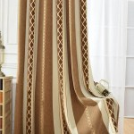 Brown Striped Chenille Blackout Curtains Eyelet Bedroom Drapes On Sale Anady Top