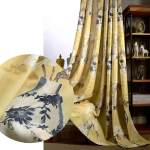 Yellow Curtains White Flower Linen Drapes 2 Panels For Bedroom Anady Top