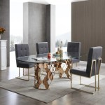 Ritz Modern Dining Table Glass Rose Gold