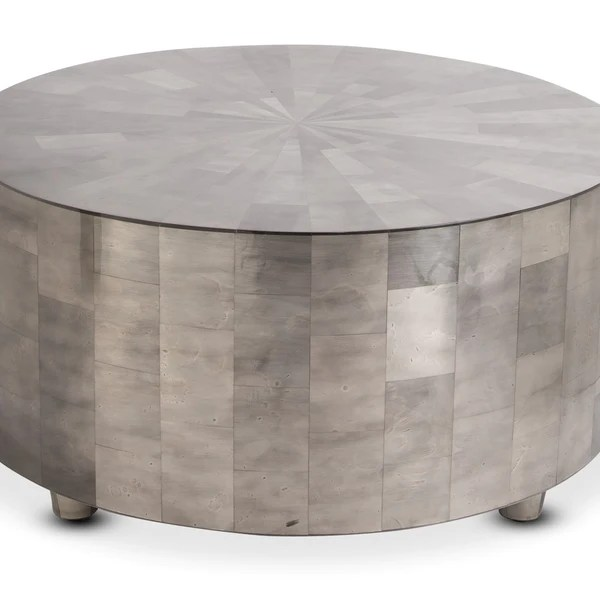 adeline round drum cocktail table in