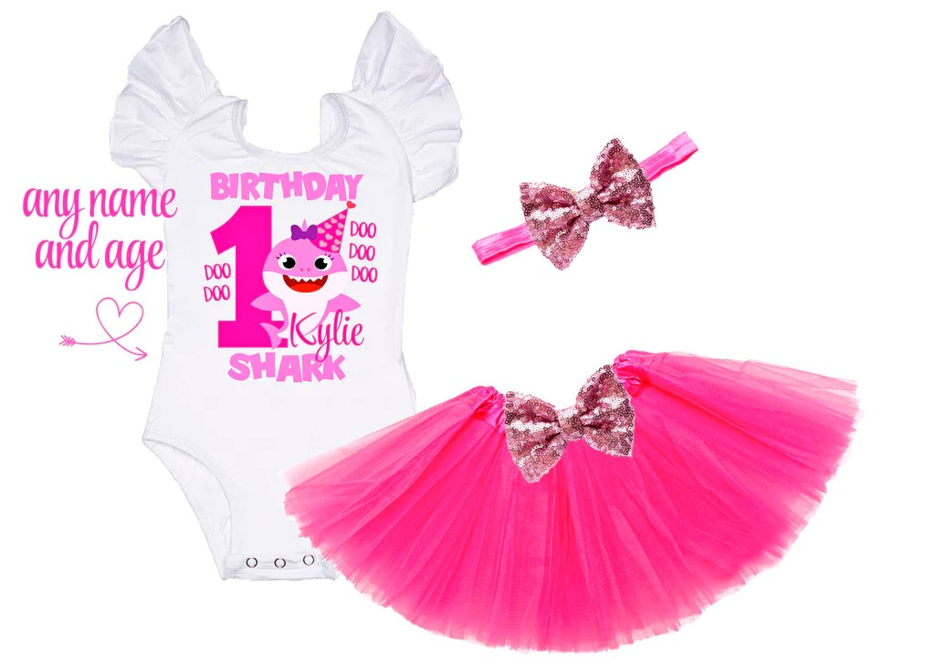 Baby Shark Girls First Birthday Outfit Little And Gorgeous