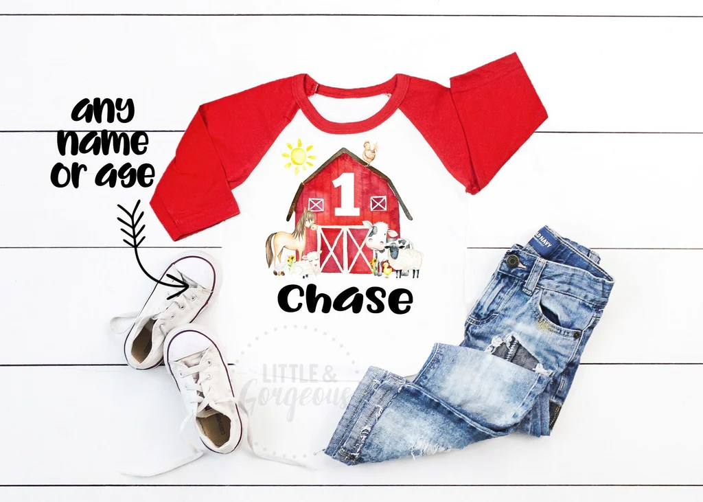 Boys Personalized Farm First Birthday Shirt Old Macdonald Little And Gorgeous