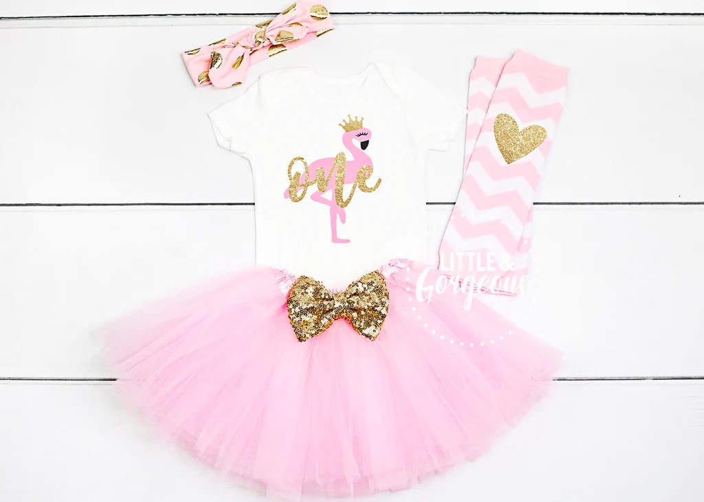 Girls Flamingo First Birthday Outfit Little And Gorgeous