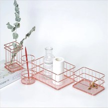 Image result for rose gold wire organizer desk
