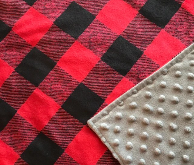 Red Buffalo Plaid Baby Boy Lovey Snuggle Baby Blanket Featuring Fade Free Minky From