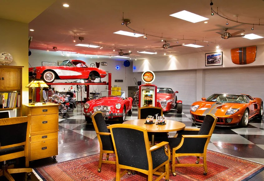 simple garage man cave ideas