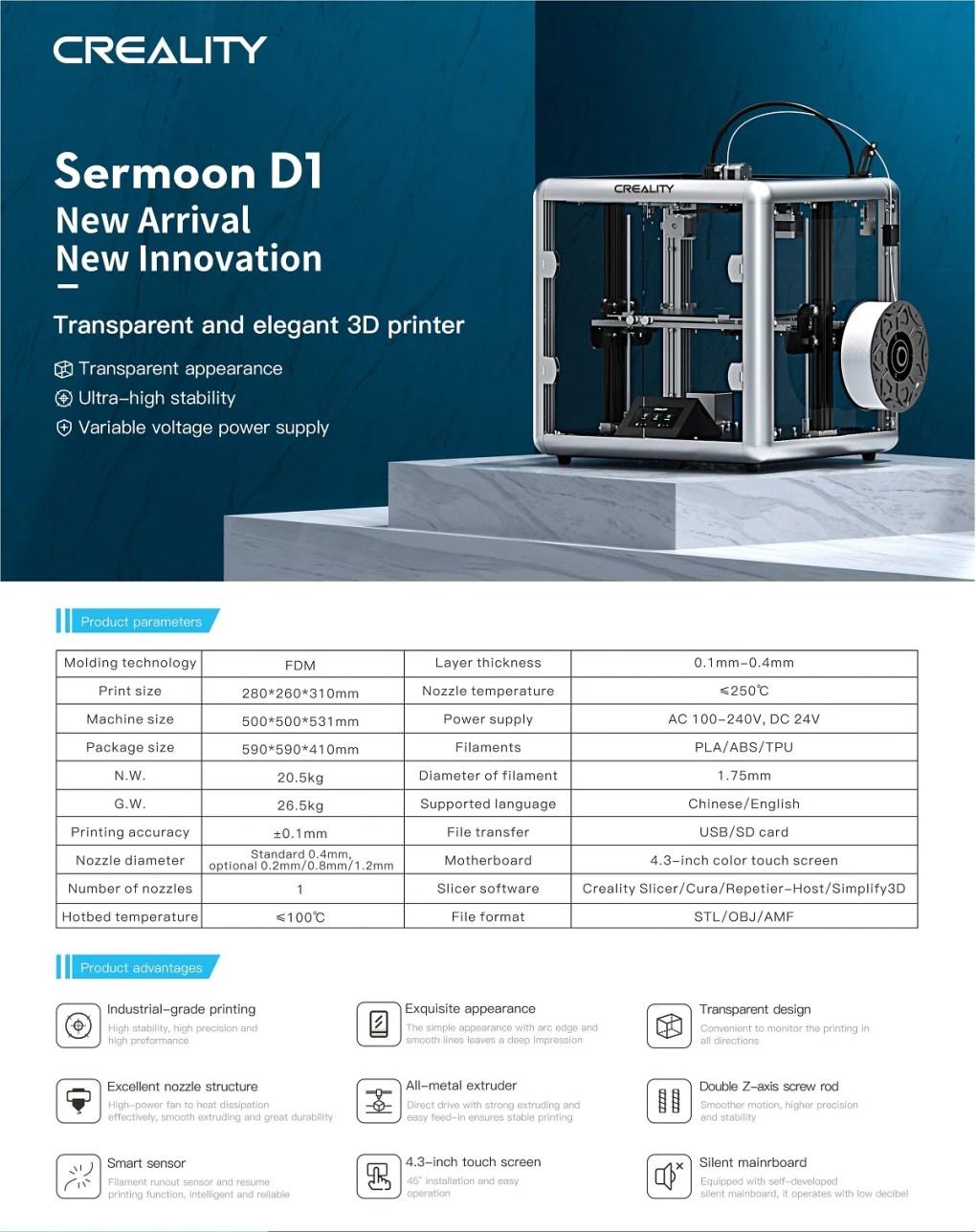 Sermoon d1 kapalı 3d yazıcı, doğrudan sürücülü 3d yazıcı