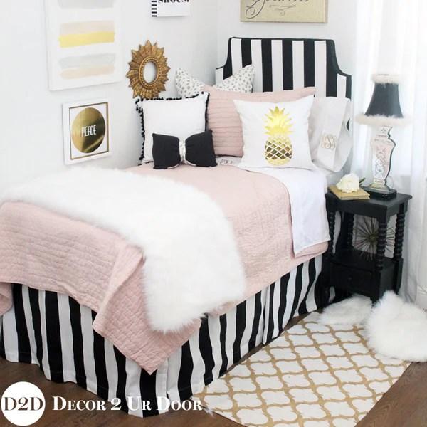 blush pink black gold faux fur