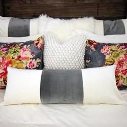 ivory grey velvet long lumbar pillow cover