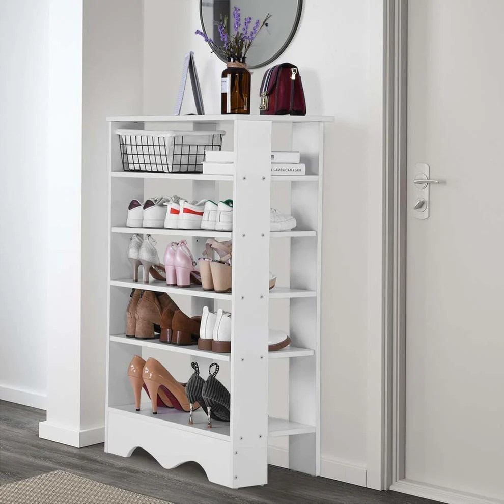 free standing shoe storage rack white finished mdf with 5 open shelves