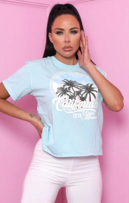 Blue 'California' Graphic Print T-Shirt - Rivka